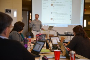 Mr. Kaniecki leading teacher edtech PD.  Photo credit: Ellyn Whiteash, school photographer